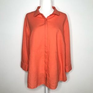 In every story linen blend coral button down top